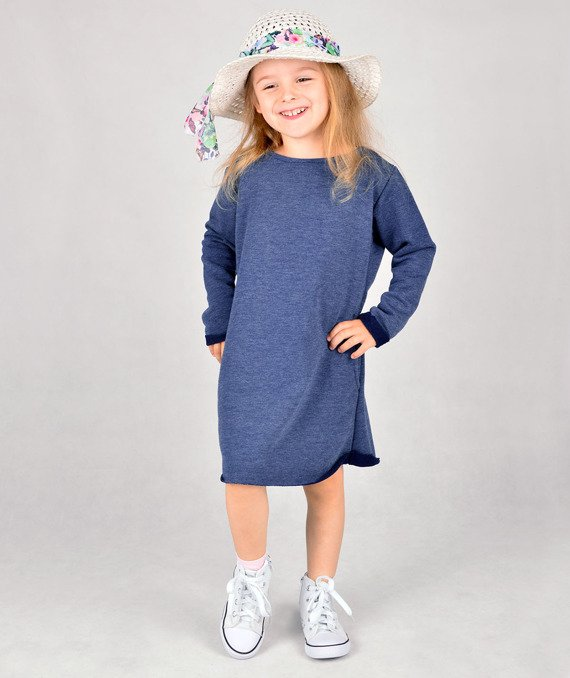 Navy long-sleeved dress CARLO LAMON