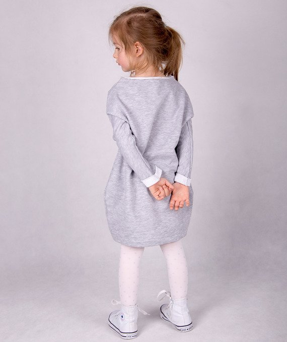 Grey long-sleeved dress CARLO LAMON
