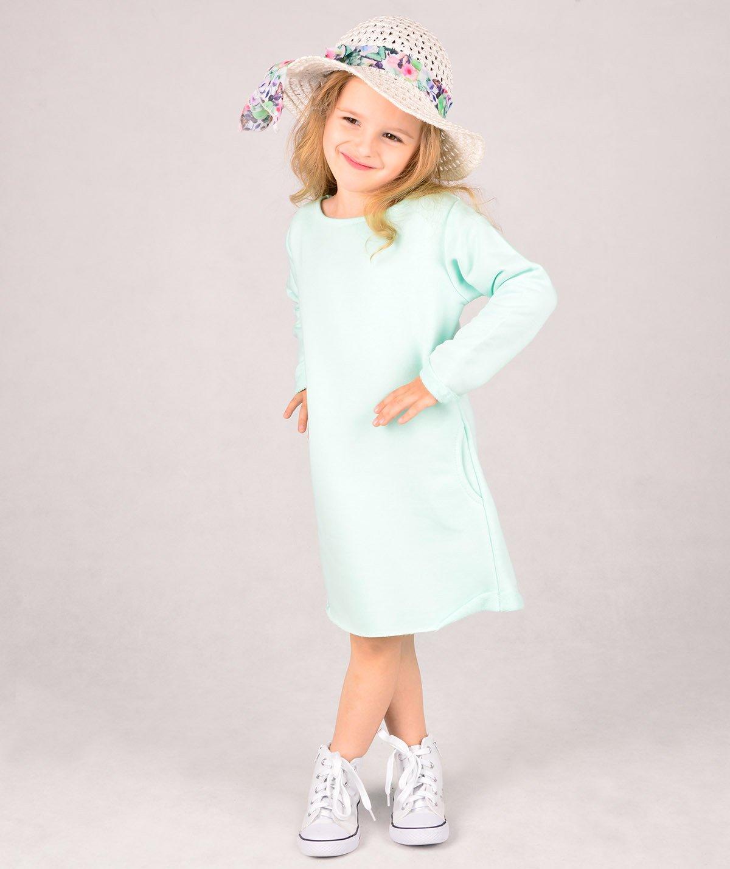 52eddcedcc Seledynowa dresowa sukienka dziecięca Carlo Lamon